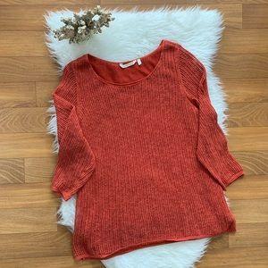 Soft Surroundings Orange Open Knit Sweater